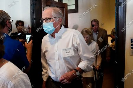 Former Sen. Sam Nunn, D-Ga., arrives for a reception to celebrate the 75th wedding anniversary of former President Jimmy Carter and former first lady Rosalynn Carter 75th wedding anniversary, in Plains, Ga