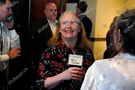 Amy Carter arrives for a reception to celebrate the 75th wedding anniversary of her parents former President Jimmy Carter and former first lady Rosalynn Carter, in Plains, Ga