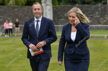 Stock Image of Michelle O'Neill, Northern Ireland's Deputy First Minister and Paul Givan, Northern Ireland's First Minister, seen at the ceremony marking the 105th anniversary of the Battle of the Somme, in the Irish National War Memorial Gardens, at Islandbridge in Dublin.On Saturday, 10 July 2021, in Dublin, Ireland