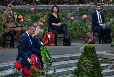 Paul Givan, Northern Ireland's First Minister and Michelle O'Neill, Northern Ireland's Deputy First Minister, lay a wreath during the ceremony marking the 105th anniversary of the Battle of the Somme, in the Irish National War Memorial Gardens, at Islandbridge in Dublin.On Saturday, 10 July 2021, in Dublin, Ireland