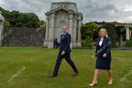 Michelle O'Neill, Northern Ireland's Deputy First Minister and Paul Givan, Northern Ireland's First Minister, seen at the ceremony marking the 105th anniversary of the Battle of the Somme, in the Irish National War Memorial Gardens, at Islandbridge in Dublin.On Saturday, 10 July 2021, in Dublin, Ireland