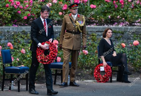 Paul Johnston, the British Ambassador to Ireland, lays a wreath during the ceremony marking the 105th anniversary of the Battle of the Somme, in the Irish National War Memorial Gardens, at Islandbridge in Dublin.On Saturday, 10 July 2021, in Dublin, Ireland