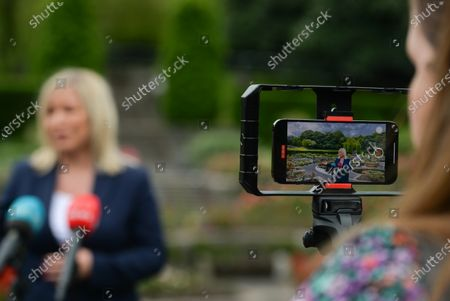 Michelle O'Neill, Northern Ireland's Deputy First Minister, speaks to the media, after she attended the ceremony marking the 105th anniversary of the Battle of the Somme, in the Irish National War Memorial Gardens, at Islandbridge in Dublin.On Saturday, 10 July 2021, in Dublin, Ireland