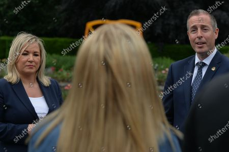 Michelle O'Neill, Northern Ireland's Deputy First Minister and Paul Givan, Northern Ireland's First Minister, speak to the media, after they attended the ceremony marking the 105th anniversary of the Battle of the Somme, in the Irish National War Memorial Gardens, at Islandbridge in Dublin.On Saturday, 10 July 2021, in Dublin, Ireland