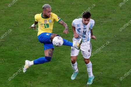 Argentina's Gonzalo Montiel (R) in action against Brazil's Neymar Jr, during the Copa America 2021 final between Argentina and Brazil at the Maracana Stadium in Rio de Janeiro, Brazil, 10 July 2021.