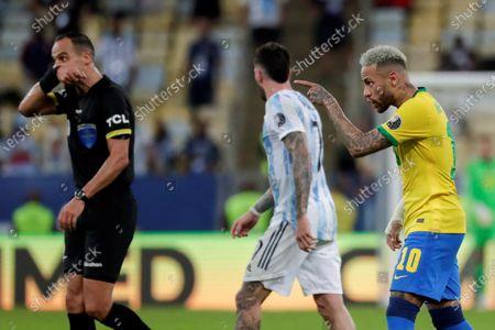 Brazil's Neymar Jr argues during the Copa America 2021 final between Argentina and Brazil at the Maracana Stadium in Rio de Janeiro, Brazil, 10 July 2021.
