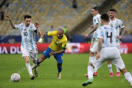 Argentina's Lionel Messi (L) in action against Brazil's Neymar Jr, during the Copa America 2021 final between Argentina and Brazil at the Maracana Stadium in Rio de Janeiro, Brazil, 10 July 2021.