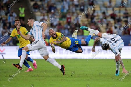 Brazil's Neymar Jr (C) reacts to a foul during the Copa America 2021 final between Argentina and Brazil at the Maracana Stadium in Rio de Janeiro, Brazil, 10 July 2021.