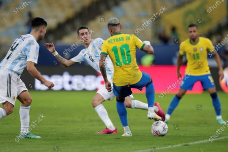 Angel Di Maria (C-L) of Argentina disputes the ball with Neymar Jr of Brazil, during the Copa America 2021 final between Argentina and Brazil at the Maracana Stadium in Rio de Janeiro, Brazil, 10 July 2021.