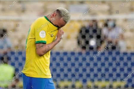 Brazil's Neymar Jr reacts after losing against Argentina after the Copa America 2021 final at the Maracana Stadium in Rio de Janeiro, Brazil, 10 July 2021.