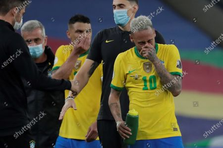 Brazil's Neymar Jr reacts after losing the Copa America 2021 final between Argentina and Brazil at the Maracana Stadium in Rio de Janeiro, Brazil, 10 July 2021.