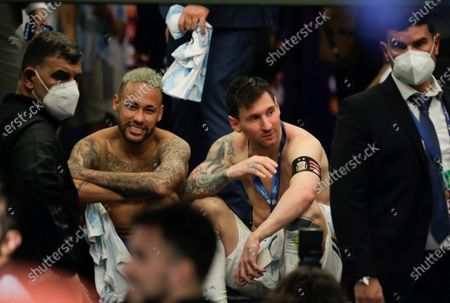 Argentina's Lionel Messi (R) speaks with Brazil's Neymar Jr after the Copa America 2021 final between Argentina and Brazil at the Maracana Stadium in Rio de Janeiro, Brazil, 10 July 2021.
