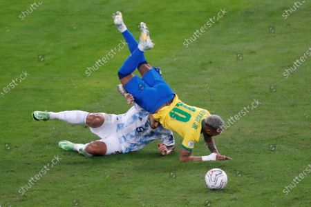 Argentina's Leandro Paredes (down) in action against Brazil's Neymar Jr, during the final of the Copa America 2021 in Rio de Janeiro, Brazil, 10 July 2021.
