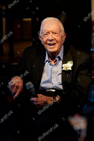 Stock Picture of Former President Jimmy Carter is shown during a reception to celebrate their 7th anniversary, in Plains, Ga