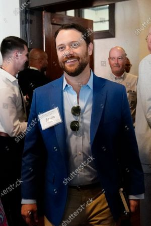 Jason Carter arrives for a reception to celebrate the 75th wedding anniversary of his grandparents former President Jimmy Carter and former First Lady Rosalynn Carter, in Plains, Ga