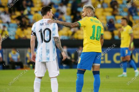 Lionel Messi of Argentina and Neymar jr of brazil