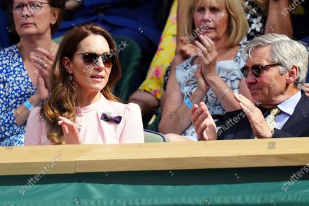 Catherine Duchess of Cambridge and Michael Middleton in the Centre Court Royal Box