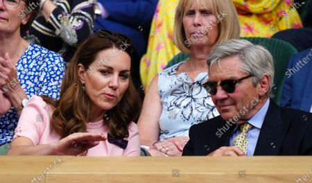 Stock Picture of Catherine Duchess of Cambridge and Michael Middleton in the Centre Court Royal Box