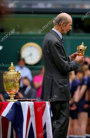 HRH The Duke of Kent receives his miniature Wimbledon Trophy