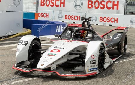 Pascal Wehrlein (99) of TAG Heuer Porsche team driving car during qualifying race of ABB Formula E World Championship New York E-Prix in Red Hook Brooklyn Street Circuit.