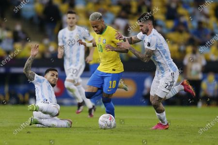 (210711) - RIO DE JANEIRO, July 11, 2021 (Xinhua) - Brazil's Neymar (2nd, R) vies with Argentina's Rodrigo de Paul (1st, R) during 2021 Copa America football tournament final match in Rio de Janeiro, Brazil, on July 10, 2021.