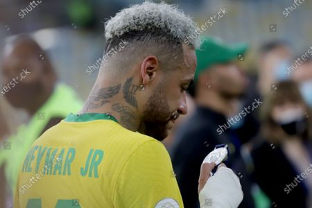 Stock Image of (210711) - RIO DE JANEIRO, July 11, 2021 (Xinhua) - Brazil's Neymar reacts after the 2021 Copa America football tournament final match against Argentina in Rio de Janeiro, Brazil, on July 10, 2021.