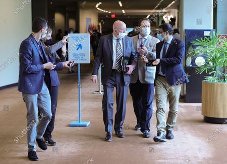 Stock Image of Permanent Representative of Russia to UN, Vasily Nebenzya, briefs reporters after the Security Council unanimously adopted a resolution on humanitarian aid in Syria today at the UN Headquarters in New York City.