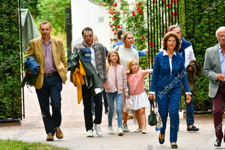 Stock Photo of Prince Daniel, Princess Estelle, Princess Madeleine, Princess Leonore, Queen Silvia, King Carl Gustaf and Christopher O´Neill arrive to watch a Solliden sessions concert with Swedish artist Lena Philipsson at Solliden Palace in Borgholm, Sweden, on July 10, 2021.