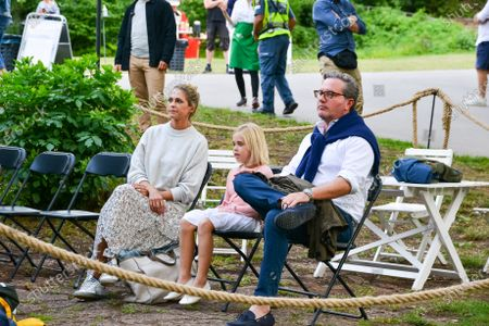 Princess Madeleine, Princess Leonore and Christopher O´Neill in the audience during a Solliden sessions concert with Swedish artist Lena Philipsson at Solliden Palace in Borgholm, Sweden, on July 10, 2021.