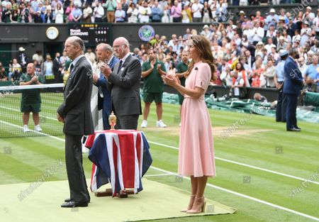 Britain's Catherine, The Duchess of Cambridge (R) and Prince Edward, Duke of Kent (L) attend the trophy ceremony after the men's final match between Novak Djokovic of Serbia and Matteo Berrettini of Italy at the Wimbledon Championships, Wimbledon, Britain 11 July 2021. Djokovic won 3-1.