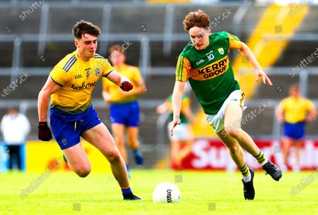 Roscommon vs Kerry. Kerry's Keith Evans and Roscommon's Alan McManus