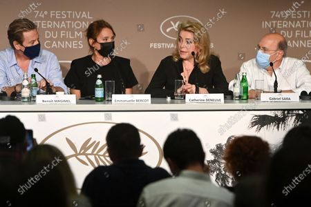 Benoit Magimel, Emmanuelle Bercot, Catherine Deneuve and Gabriel Sara attend the press conference for 'De son Vivant (Peaceful)' during the 74th annual Cannes Film Festival, in Cannes, France, 11 July 2021. The festival runs from 06 to 17 July.