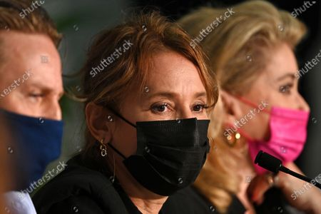 Benoit Magimel, Emmanuelle Bercot and Catherine Deneuve attend the press conference for 'De son Vivant (Peaceful)' during the 74th annual Cannes Film Festival, in Cannes, France, 11 July 2021. The festival runs from 06 to 17 July.