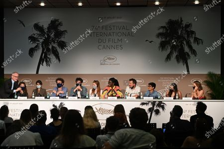 Thierry Fremaux, Paloma Moritz, Marie Amiguet, Cyril Dion, Louis Garrel, Bella Lack, Aissa Maiga, Vincent Munier, Vipulan Puvaneswaran, Melati Wijsen and Flore Vasseur attend the press conference for 'Cinema For The Climate' during the 74th annual Cannes Film Festival, in Cannes, France, 11 July 2021. The festival which runs from 06 to 17 July.