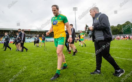 Derry vs Donegal. Donegal's Michael Murphy and selector Stephen Rochford after the game