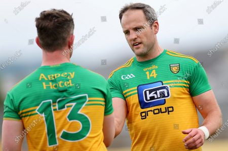 Derry vs Donegal. Donegal's Patrick McBrearty and Michael Murphy celebrate