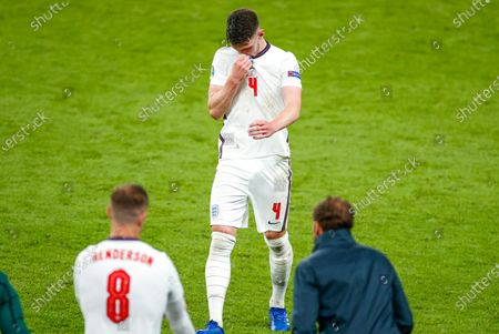 England's Declan Rice reacts as he leaves the field as he is substituted by Jordan Henderson during the Euro 2020 soccer championship final between England and Italy at Wembley stadium in London