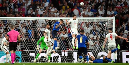 John Stones (C-R) of England in action during the UEFA EURO 2020 final between Italy and England in London, Britain, 11 July 2021.