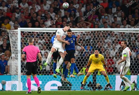 Emerson (C-R) of Italy in action against John Stones (C-L) of England during the UEFA EURO 2020 final between Italy and England in London, Britain, 11 July 2021.