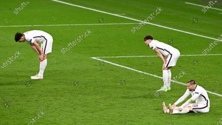 (from L) Harry Maguire, John Stones and Luke Shaw of England during the UEFA EURO 2020 final between Italy and England in London, Britain, 11 July 2021.