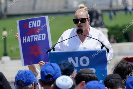 """Meghan McCain speaks at the """"NO FEAR: Rally in Solidarity with the Jewish People"""" event in Washington, co-sponsored by the Alliance for Israel, Anti-Defamation League, American Jewish Committee, B'nai B'rith International and other organizations"""