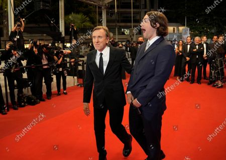 Tim Roth, left, and Michael Cormac Roth pose for photographers upon arrival at the premiere of the film 'Bergman Island' at the 74th international film festival, Cannes, southern France