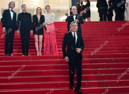(L-R, back) Hampus Nordenson, Anders Danielsen Lie, director Mia Hansen-Love, Vicky Krieps, and Cannes Film Festival General Delegate Thierry Fremaux, and Tim Roth (front) attend the screening of 'Bergman Island' during the 74th annual Cannes Film Festival, in Cannes, France, 11 July 2021. The movie is presented in the Official Competition of the festival which runs from 06 to 17 July.