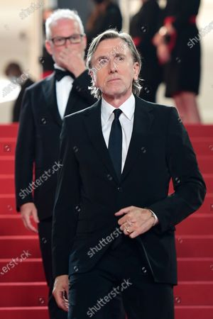Tim Roth (front) and Cannes Film Festival General Delegate Thierry Fremaux (back) attend the screening of 'Bergman Island' during the 74th annual Cannes Film Festival, in Cannes, France, 11 July 2021. The movie is presented in the Official Competition of the festival which runs from 06 to 17 July.