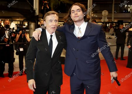 Stock Photo of Tim Roth (L) and his son Michael Cormac Roth arrive for the screening of 'Bergman Island' during the 74th annual Cannes Film Festival, in Cannes, France, 11 July 2021. The movie is presented in the Official Competition of the festival which runs from 06 to 17 July.