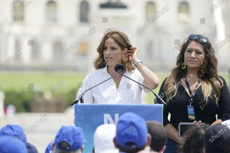 """Noa Tishby, actress, activist and author of """"Israel: A Simple Guide to the Most Misunderstood Country on Earth,"""" makes remarks at the """"No Fear: A Rally in Solidarity with the Jewish People"""" on the National Mall in Washington, DC."""