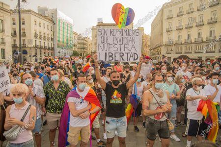 Editorial picture of Mass demonstration in Puerta del Sol against the murder of Samuel Luiz, Madrid, Spain - 11 Jul 2021