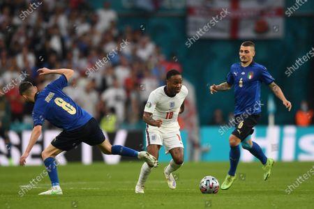 "Jorginho Jorge Luiz Frello Filho (Italy)Raheem Sterling (England)Marco Verratti (Italy)                   during the Uefa  ""European Championship 2020 Finals match between  Italy 4-3 England  at Wembley Stadium in London, England."