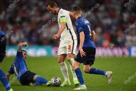 "Marco Verratti (Italy)Harry Kane (England)Jorginho Jorge Luiz Frello Filho (Italy)                     during the Uefa  ""European Championship 2020 Finals match between  Italy 4-3 England  at Wembley Stadium in London, England."