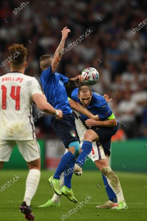 """Giorgio Chiellini (Italy)Harry Kane (England)Marco Verratti (Italy)                     during the Uefa  """"European Championship 2020 Finals match between  Italy 4-3 England  at Wembley Stadium in London, England."""